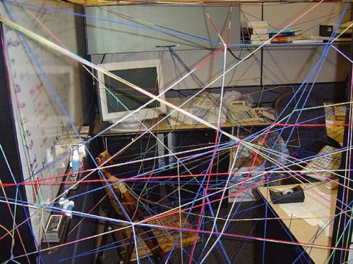 Funny office Pranks string maze in cubicle