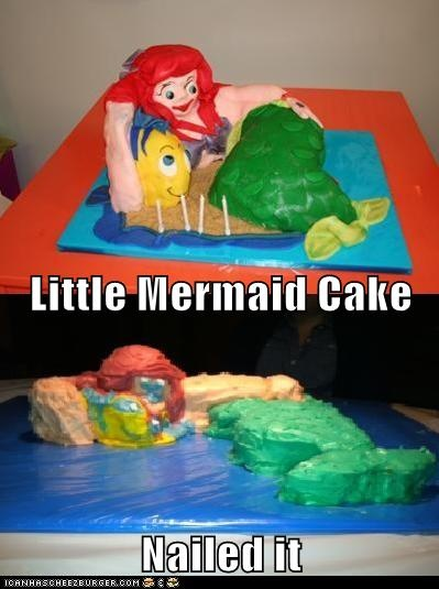 """Little Mermaid Cake Fail Picture - Nailed It"""