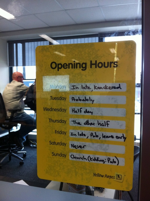 funny open hours sign