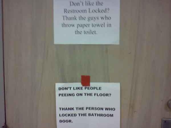 funny notes locked bathroom