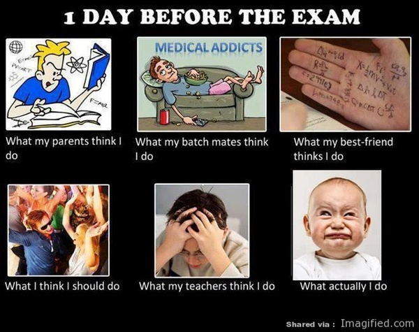 1 Day Before The Exam what they think I do caption photo picture