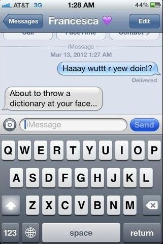 funny throw dictionary text message