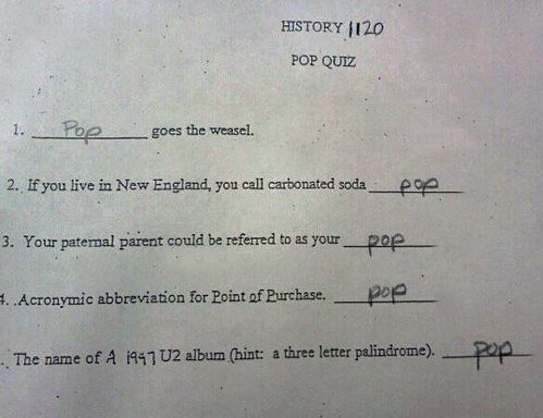 funny pop quiz funny test answers