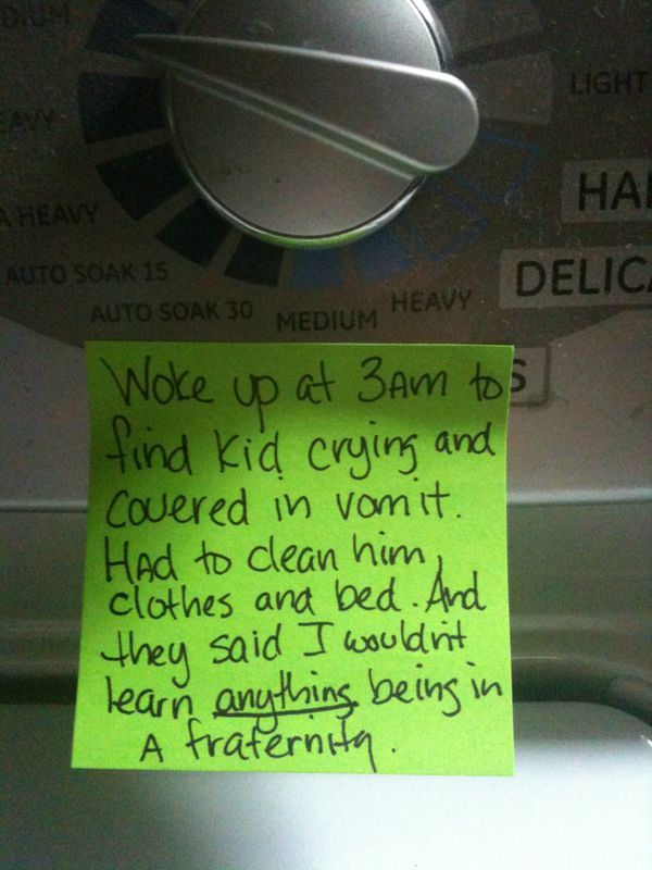 Funny living in a fraternity note
