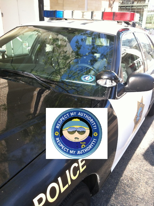 funny police car with south park respect my authority sticker