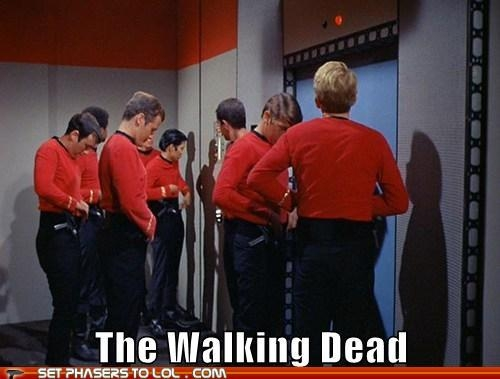 funny star trek walking dead red shirts caption picture