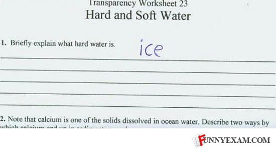 funny hard water ice test answer