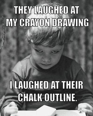 They laughed at my crayon drawing funny caption photo