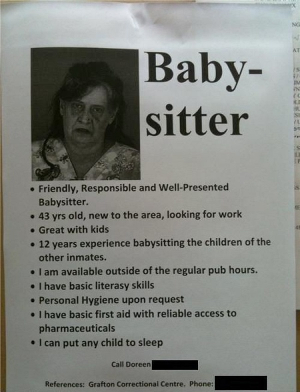 funny babysitter for hire note poster