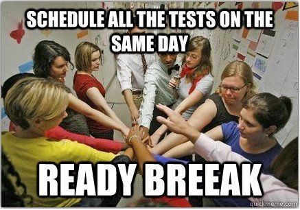 funny schedule all the tests on the same funny caption picture