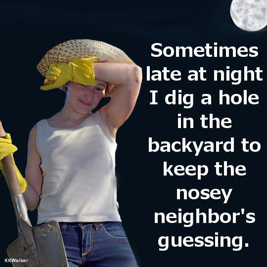 dig a hole late at night to keep neighbors guessing funny caption picture