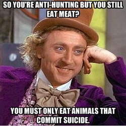 funny caption pic anti hunting eat animals that commit suicide