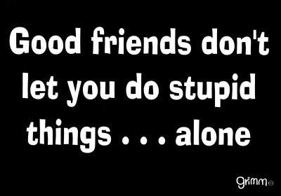 Good friends don't let you do stupid things alone funny quote
