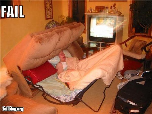 funny fold out bed fail