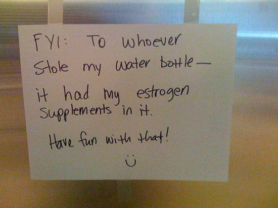 funny whoever took my water bottle note