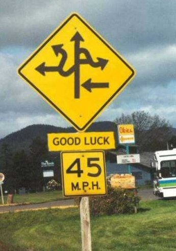 funny good luck road directions sign billboard