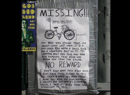 funny stolen bicycle note