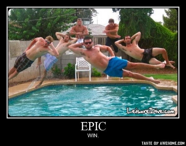 funny epic photo guys posing while all jumping in the pool picture
