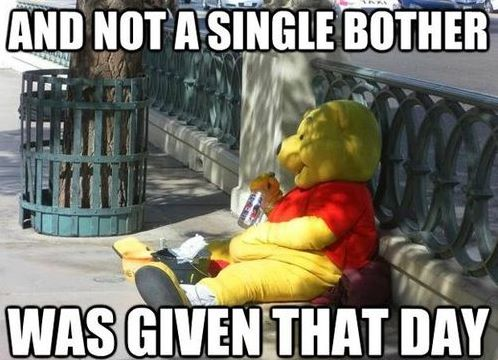 funny pooh caption photo not a single bother was given that day