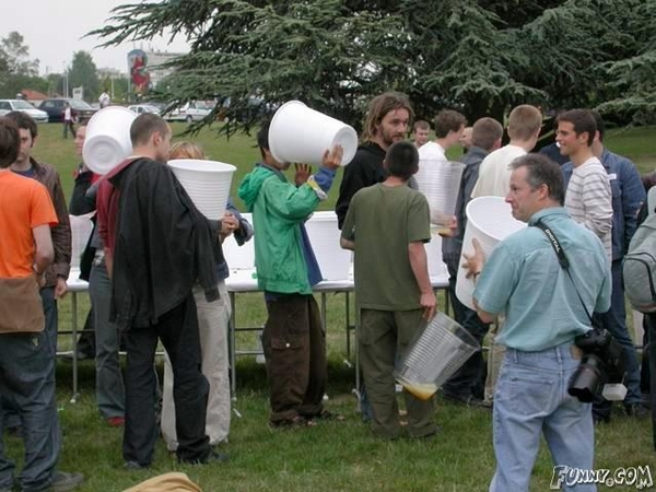 Funny huge cups party photo