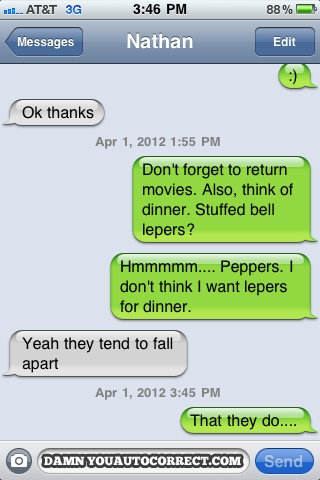 funny stuffed lepers for dinner text message
