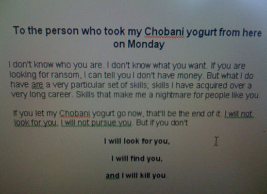 funny who stole my yogurt note