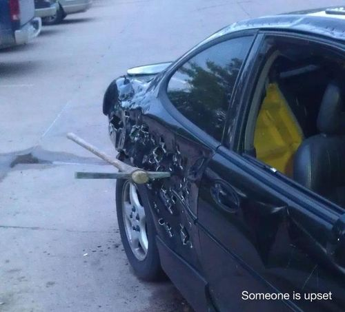 funny someone is upset pick axe in car