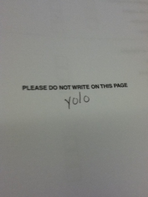 Funny yolo test answer do not write on this page funny test answer