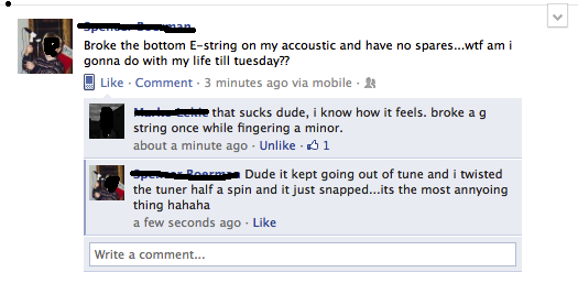 funny g string broke while fingering a minor facebook status