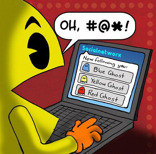 funny pacman being followed on computer funny cartoon comic