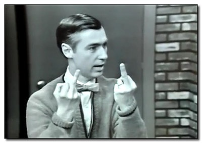 funny mr. rogers giving the finger photo