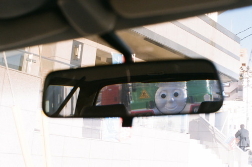 funny thomas train in rear view mirror