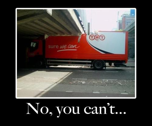 funny truck stuck under bridge yes we can no you can't photo