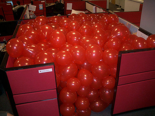 funny balloon filled cubicle office prank