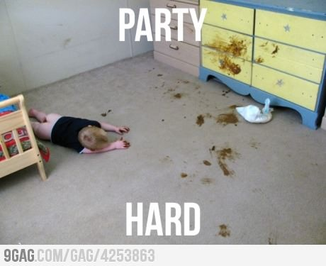 funny party hard kid makes mess falls asleep caption photo