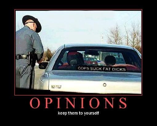 funny opinions keep them to yourself cops give ticket bumper sticker