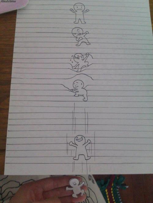 funny breaking free out of the paper drawing