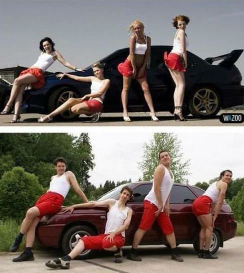 funny boys imitating girls in front of car - funny nailed it picture