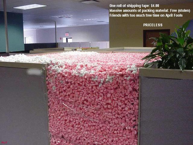 peanut filled cubicle office prank
