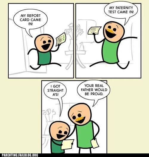 funny test came in your real father would be proud funny cartoon comic