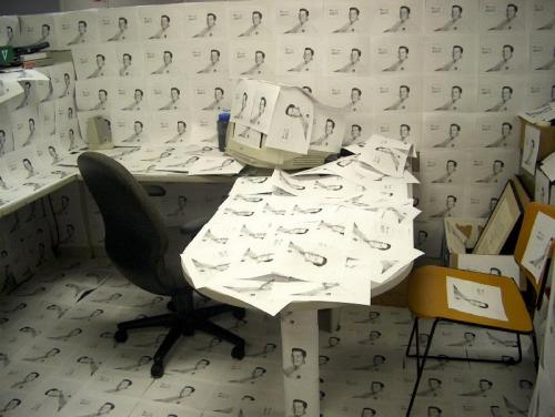 picture covered cubicle office prank picture