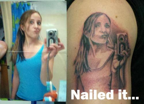 funny nailed it tattoo girl in mirror