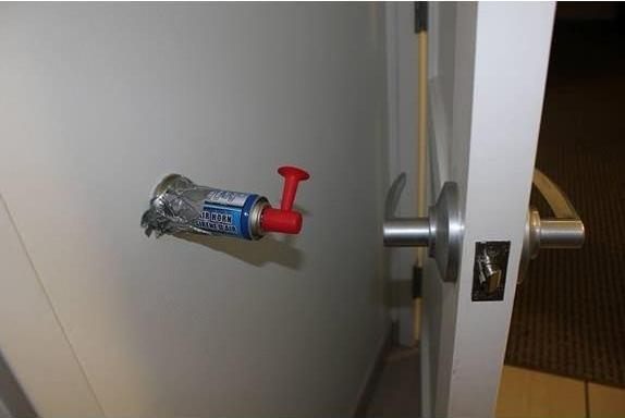 funny air horn behind door prank