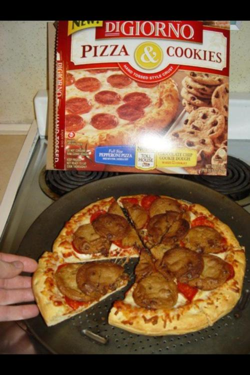 funny pizza topped with cookies nailed it!