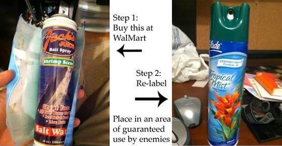 funny replace air freshener can with stinky bait spray prank