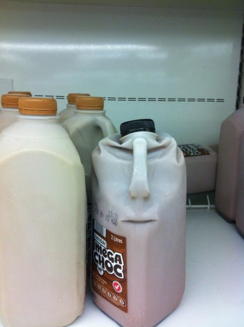 Funny crushed milk carton face