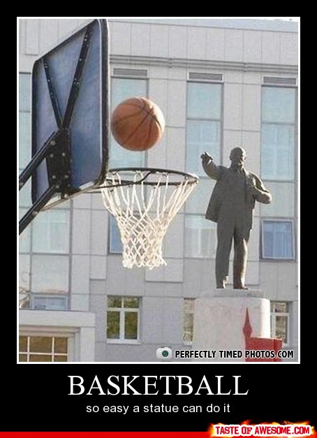 funny statue throwing basketball caption photo
