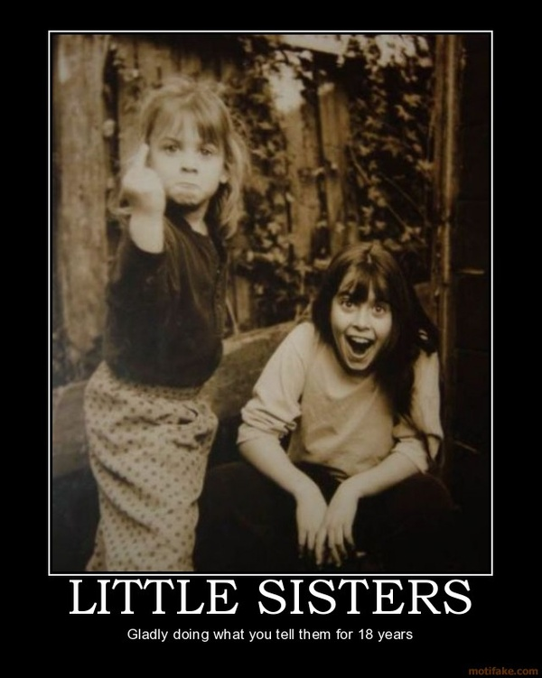 little sisters funny giving finger big sister shocked caption photo