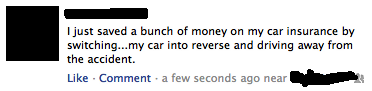 funny status save money on car insurance putting car in reverse