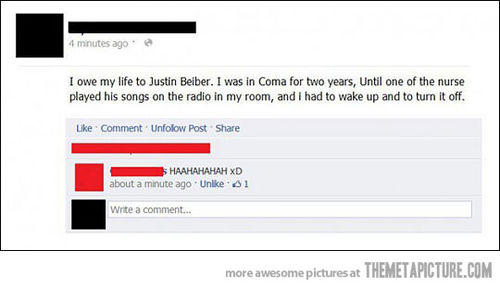 funny owe my life to justin beiber coma woke up to turn off his music